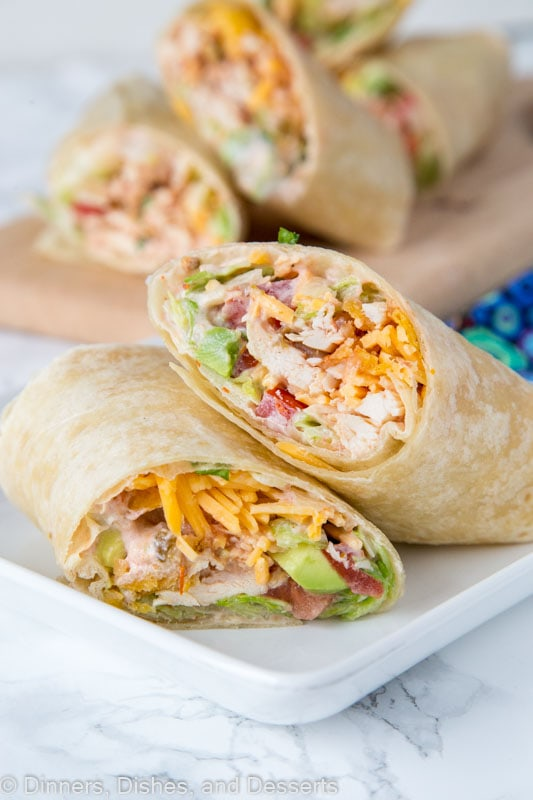 Crunchy Southwestern Chicken Wrap - easy lunch ideas are hard to come by. These chicken wraps come together in minutes, you can make them ahead, and the creamy spicy sauce makes them extra tasty!