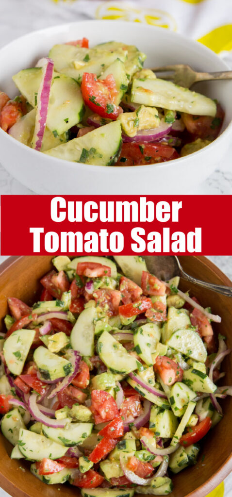 cucumber salad with tomatoes and avocado in a bowl