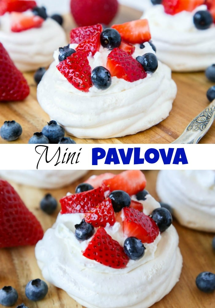 Mini Pavlova Recipe - crispy meringue made into single servings!  Topped with fresh whipped cream and berries for a light and delicious dessert any time.