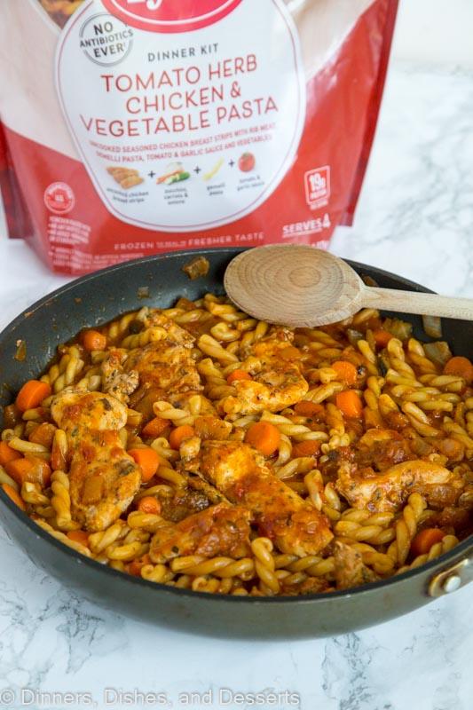 skillet of pasta