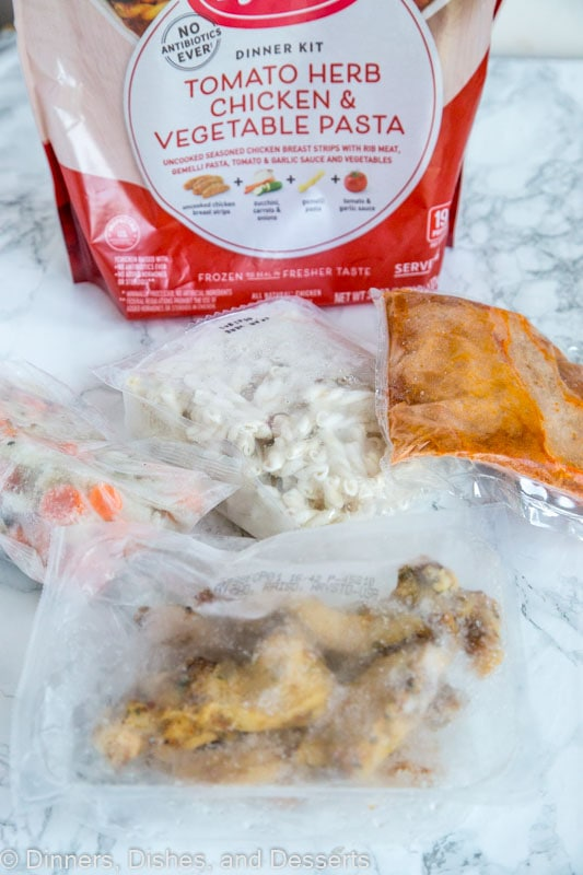 contents of bag of tomato herb chicken & vegetable pasta from tyson