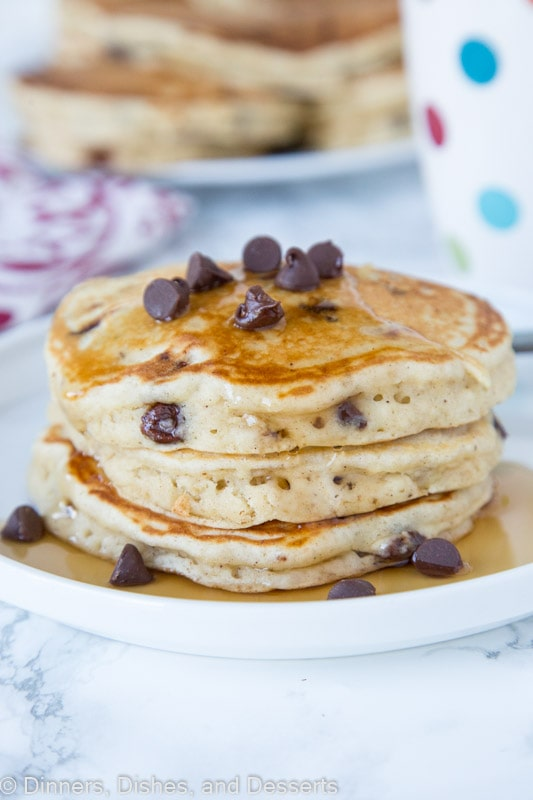 banana pancakes with chocolate chips stacked on a plate