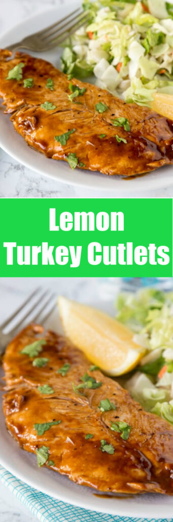 close up lemon turkey cutlets on plate with salad