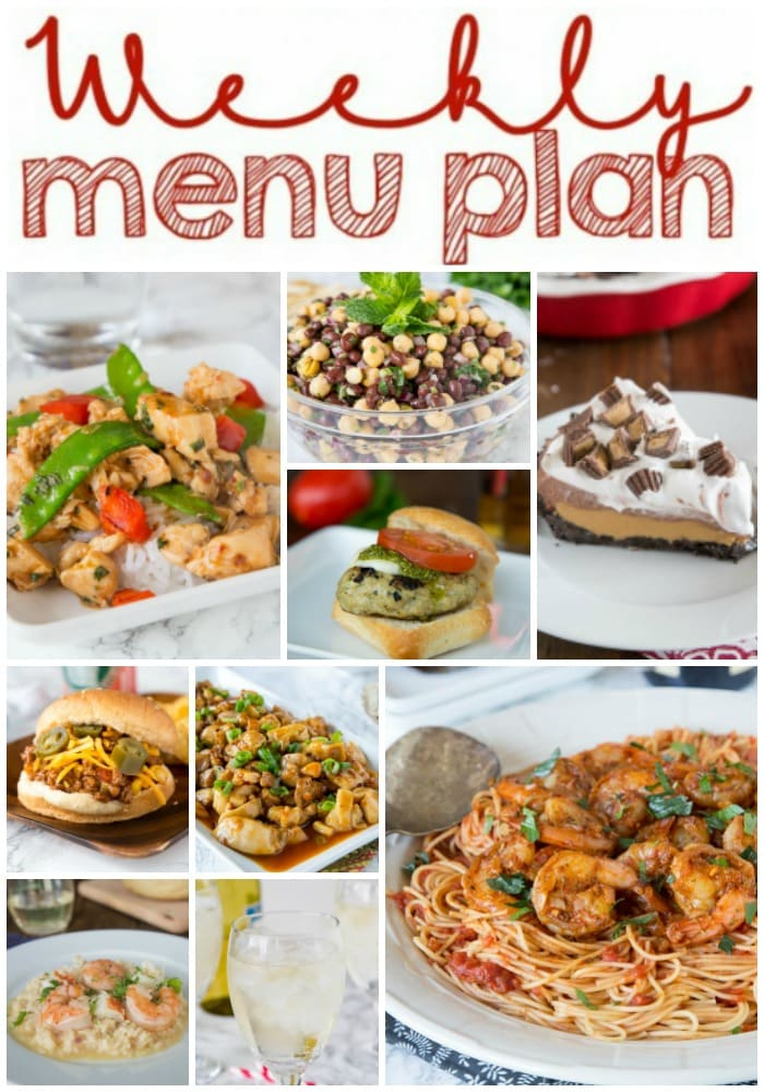 Weekly Meal Plan Week 162 - Make the week easy with this delicious meal plan. 6 dinner recipes, 1 side dish, 1 dessert, and 1 fun cocktail make for a tasty week!