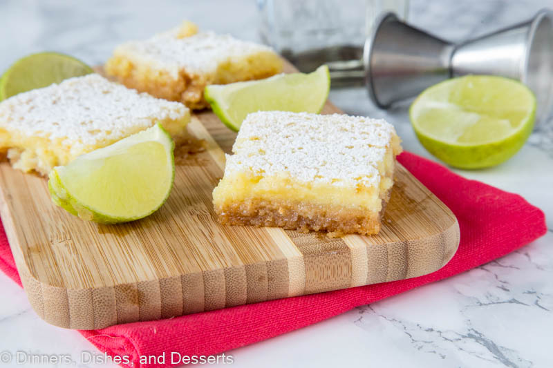 sliced margarita bars on a cutting board