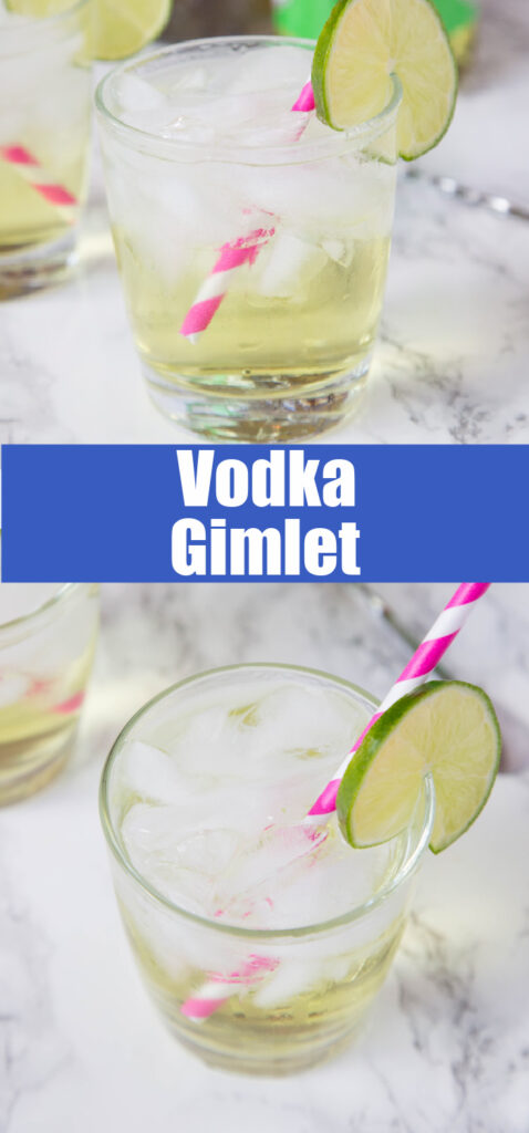 close up vodka gimlet in a glass