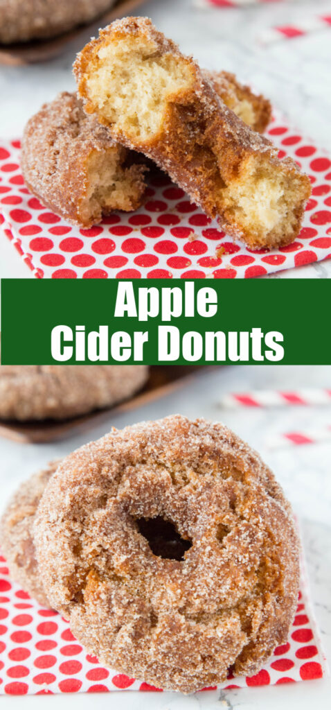 close up of homemade apple cider donuts