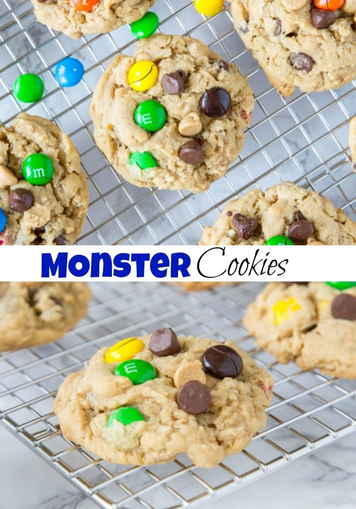 close up of monster cookies on a cooling rack