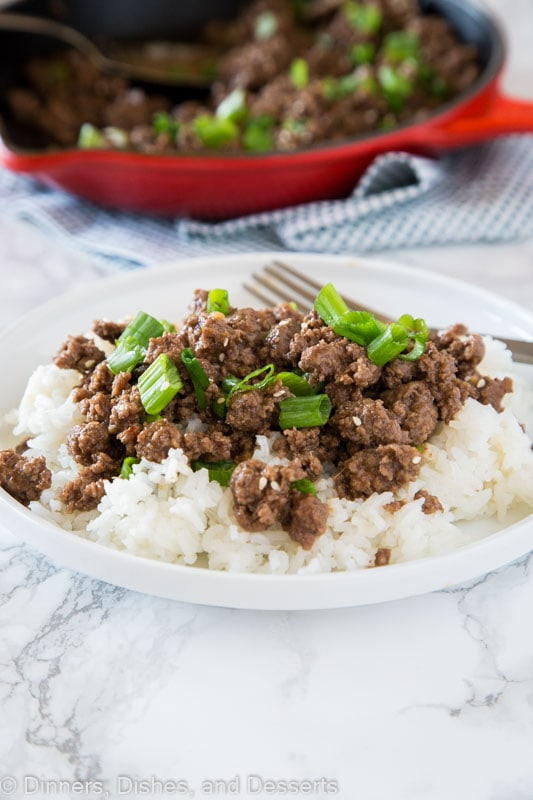A plate of food with rice and mongolian ground beef