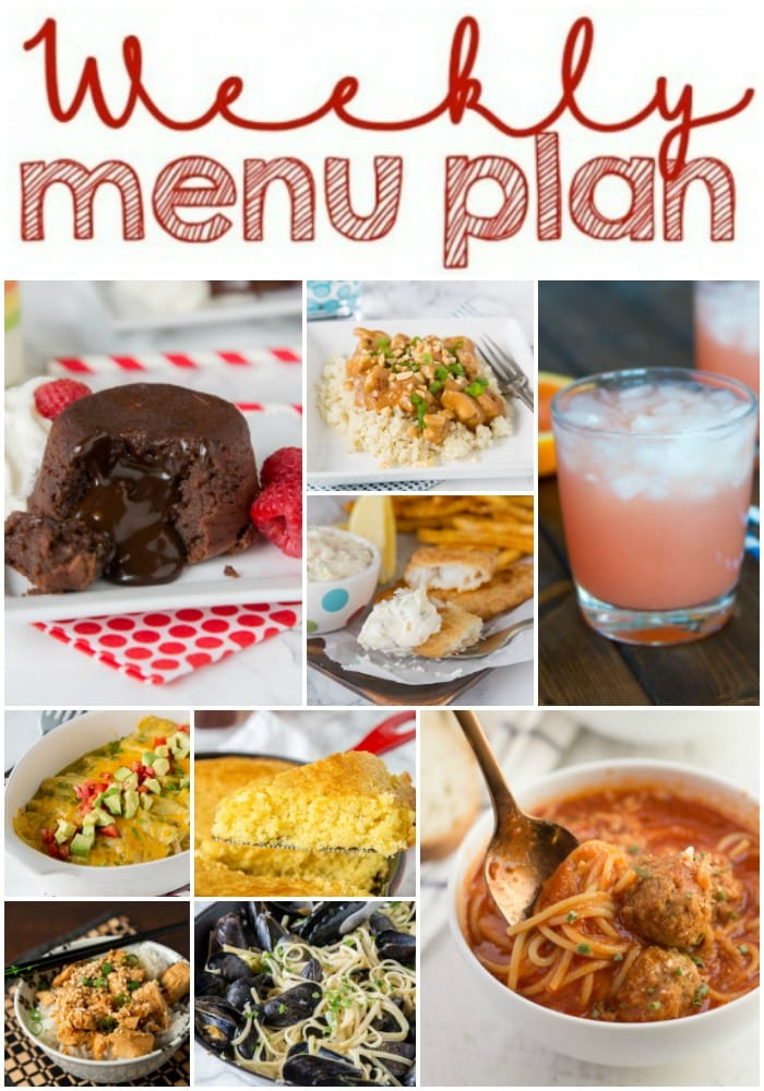 Weekly Meal Plan Week 171 - Make the week easy with this delicious meal plan. 6 dinner recipes, 1 side dish, 1 dessert, and 1 fun cocktail make for a tasty week!