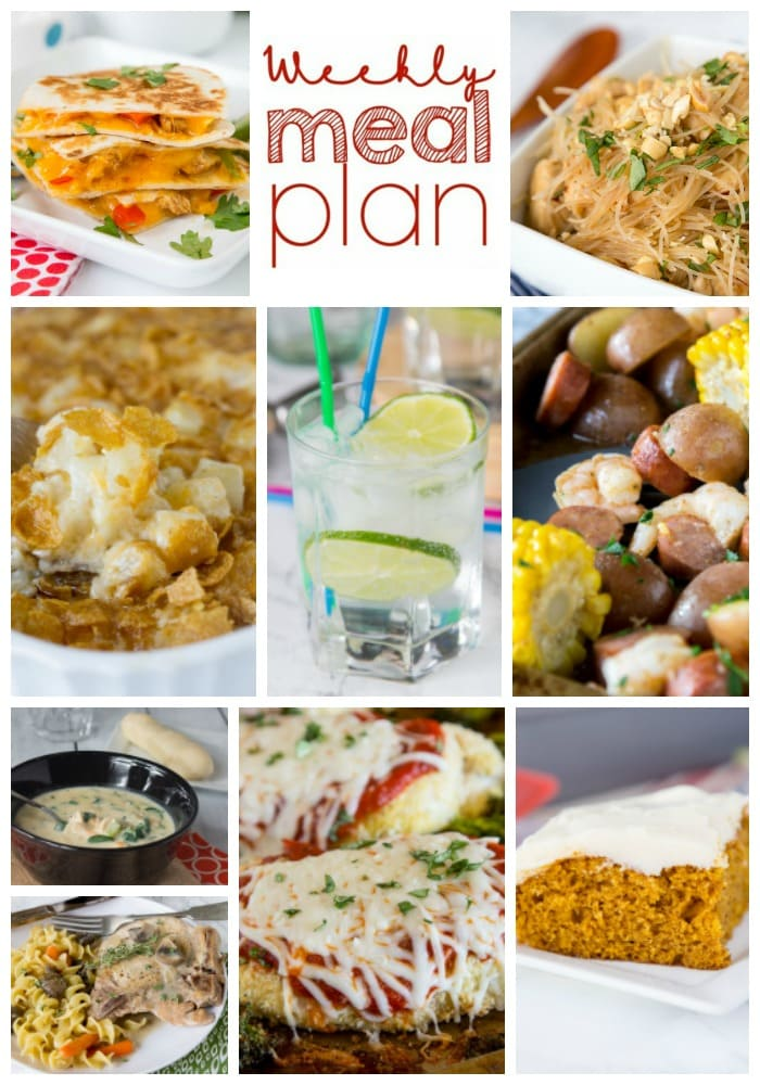 Weekly Meal Plan Week 173 - Make the week easy with this delicious meal plan. 6 dinner recipes, 1 side dish, 1 dessert, and 1 fun cocktail make for a tasty week!