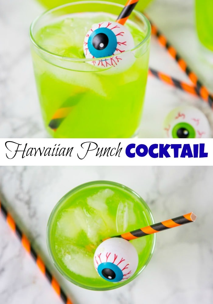 Hawaiian Punch Cocktail - Halloween cocktails are so much fun!  This starts with green Hawaiian punch, and has a version for adults and the kids!