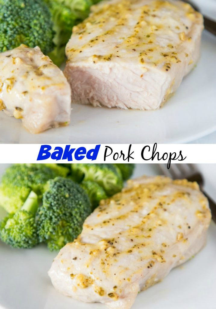 A plate of food with broccoli, with Pork and Pork chop