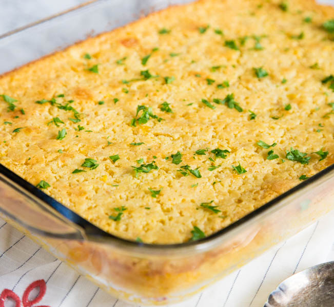 corn casserole in a pan
