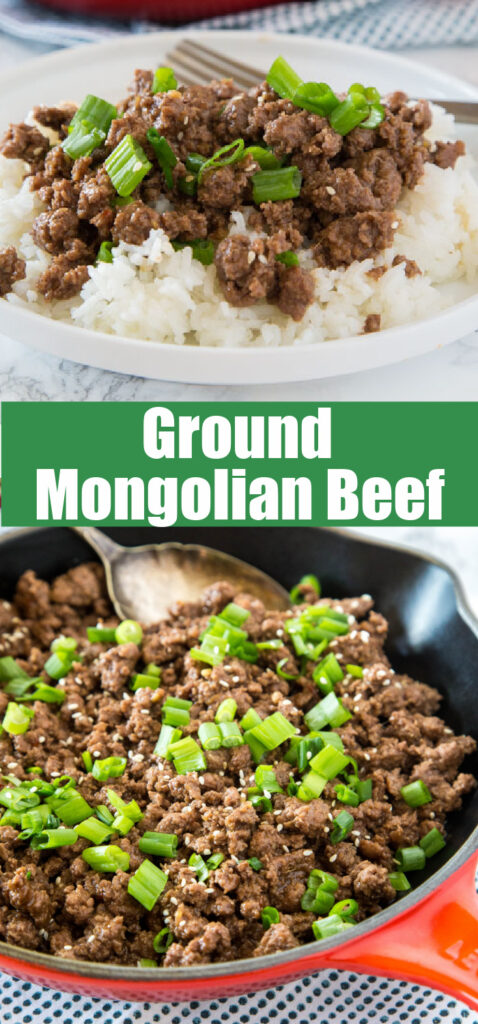mongolian beef with ground beef in a skillet