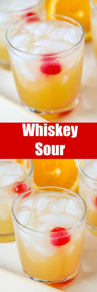 close up of whiskey sour in a glass