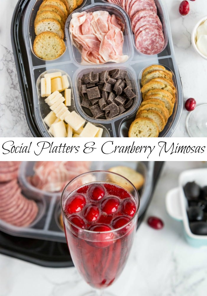 A tray of food on a plate, with Cranberry and Mimosa