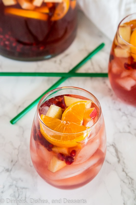 A glass of glass with Sangria and White wine