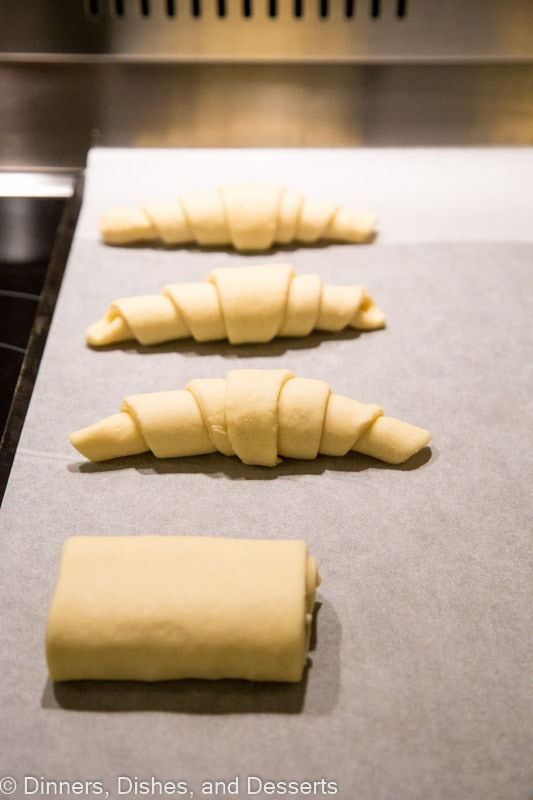 Croissant before baking on a baking sheet