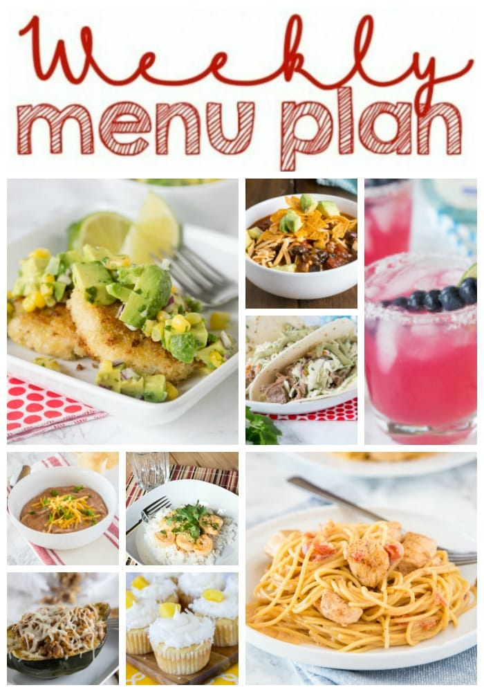 Weekly Meal Plan Week 189- Make the week easy with this delicious meal plan. 6 dinner recipes, 1 side dish, 1 dessert, and 1 fun cocktail make for a tasty week!