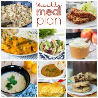 Weekly Meal Plan Week 184- Make the week easy with this delicious meal plan. 6 dinner recipes, 1 side dish, 1 dessert, and 1 fun cocktail make for a tasty week!