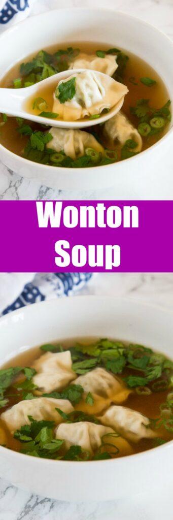 A bowl of soup with wonton soup