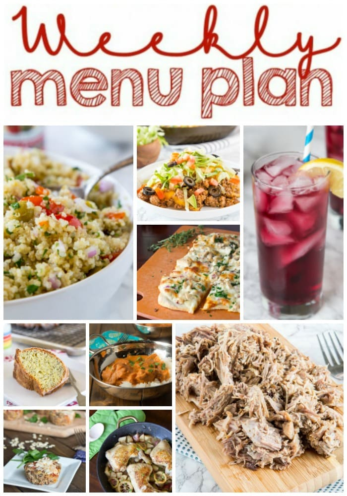 Weekly Meal Plan Week 193- Make the week easy with this delicious meal plan. 6 dinner recipes, 1 side dish, 1 dessert, and 1 fun cocktail make for a tasty week!