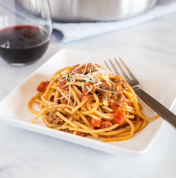 One Pan Spaghetti with Meat Sauce 5 square