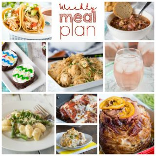 Weekly Meal Plan Week 197- Make the week easy with this delicious meal plan. 6 dinner recipes, 1 side dish, 1 dessert, and 1 fun cocktail make for a tasty week!