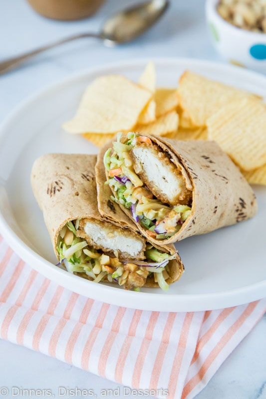 Asian chicken wrap with thai peanut sauce