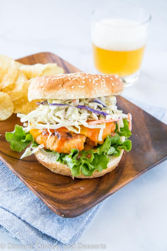 Buffalo Chicken Burger with chips