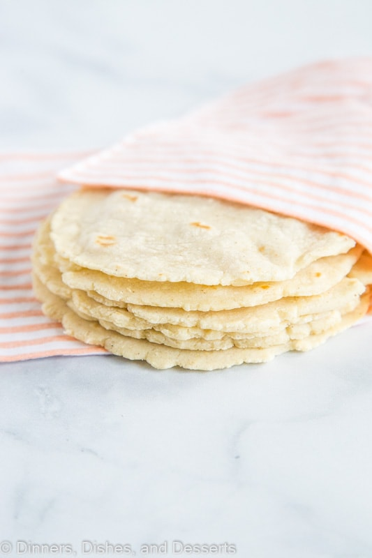 Homemade corn tortillas stacked