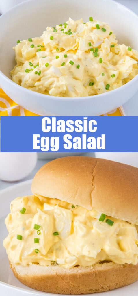 egg salad in a bowl and on a bun for pinterest collage