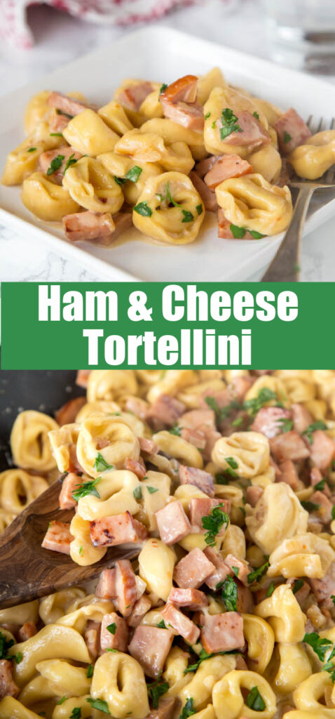 cheese tortellini with ham in skillet