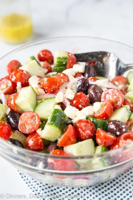 Cucumber, tomato, red onion, olives, and feta with greek dressing