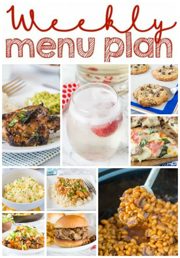 Weekly Meal Plan Week 204- Make the week easy with this delicious meal plan. 6 dinner recipes, 1 side dish, 1 dessert, and 1 fun cocktail make for a tasty week!