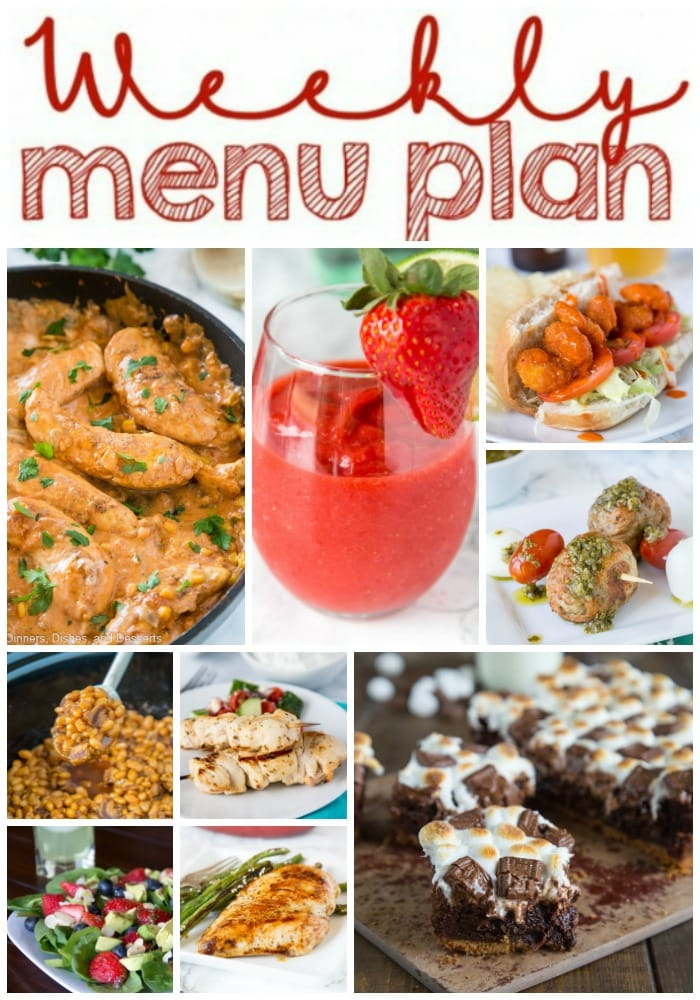Weekly Meal Plan Week 206- Make the week easy with this delicious meal plan. 6 dinner recipes, 1 side dish, 1 dessert, and 1 fun cocktail make for a tasty week!