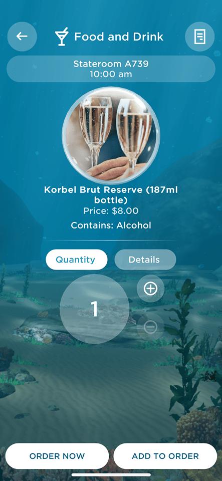 Ocean Medallion App ordering drinks