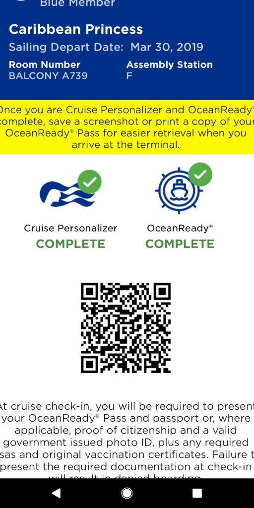 Caribbean Princess boarding pass