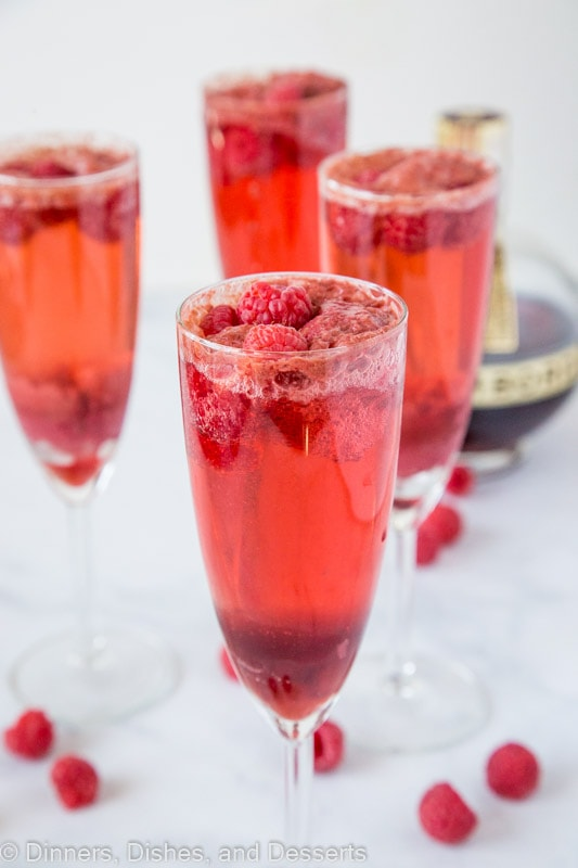 Raspberry Mimosas with chambord, champagne and raspberry sorbet