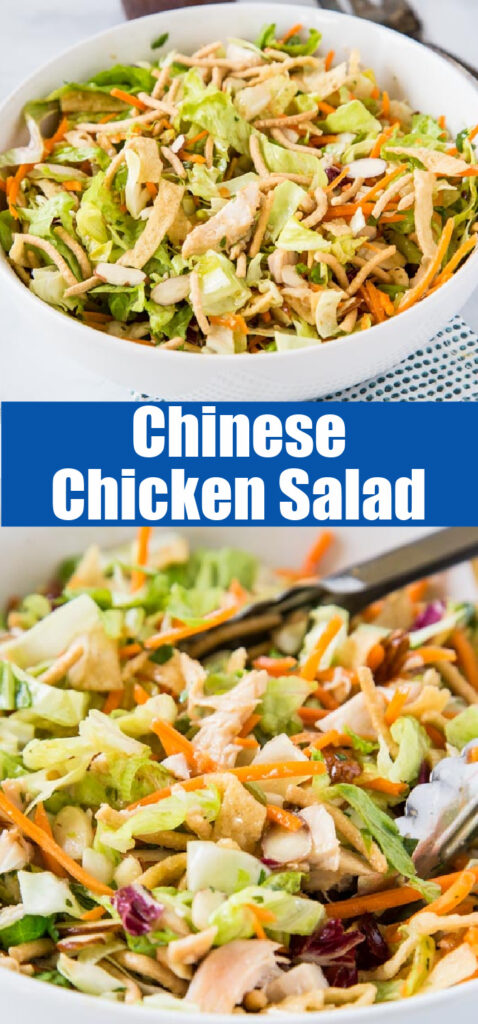 close up asian chicken salad in a bowl