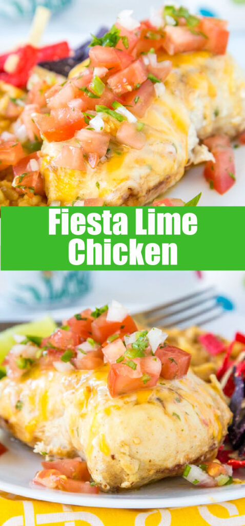 chicken with pico de gallo on a plate with mexican rice