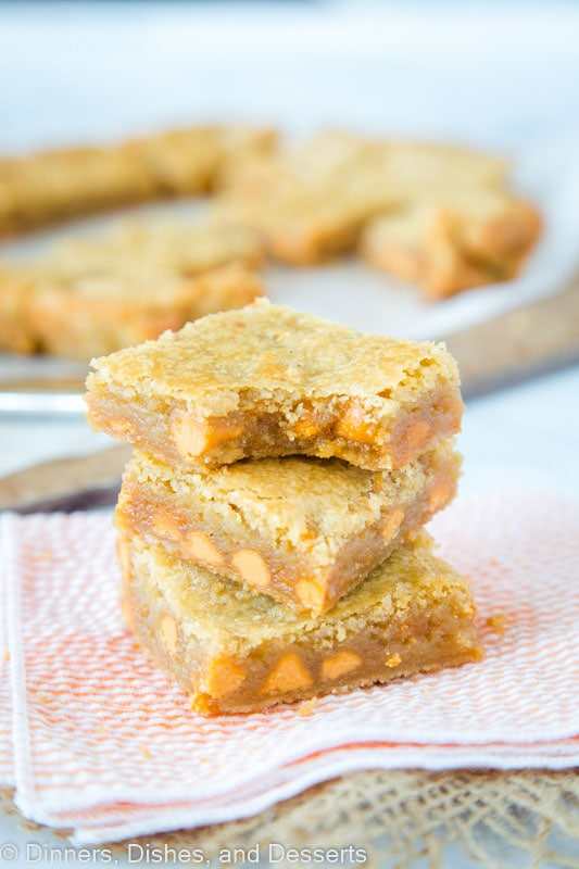 Buttery Blonde Brownies loaded but butterscotch chips