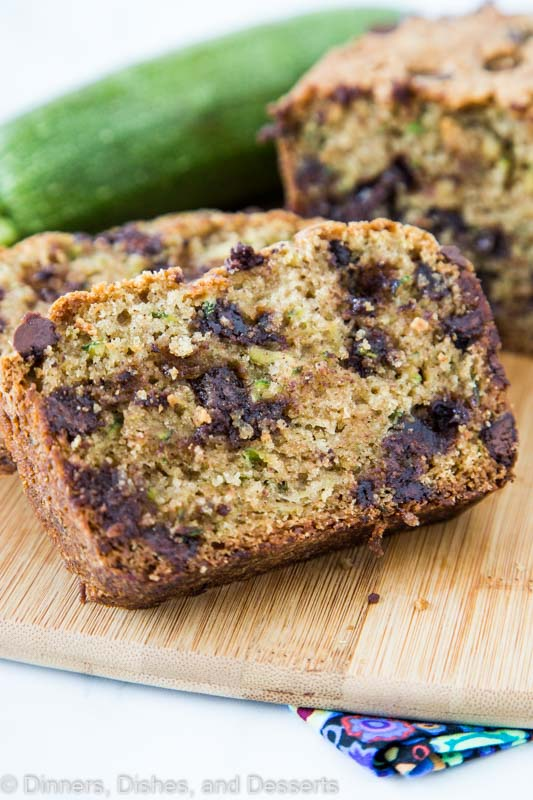 Sliced zucchini bread full of plenty of chocolate chips