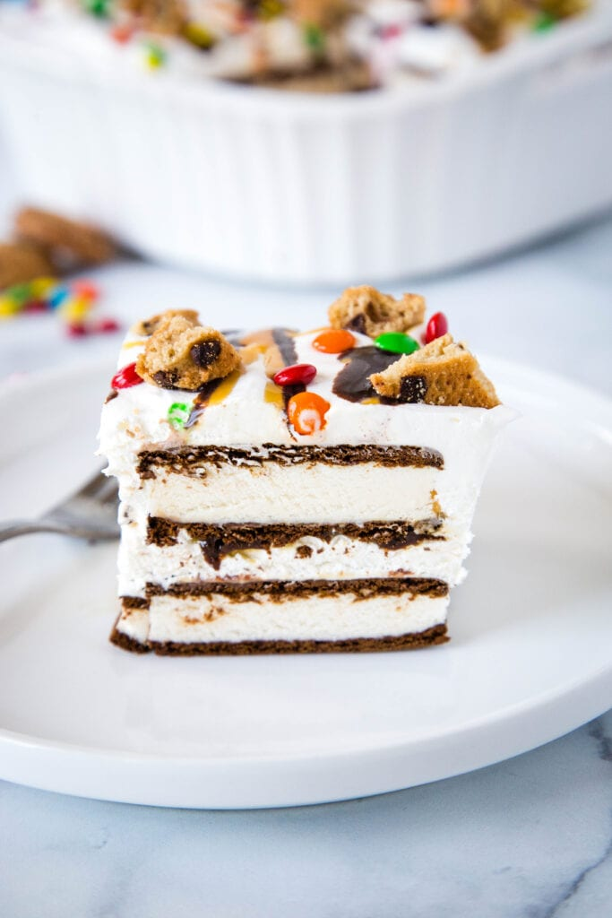 Icebox Cake made with ice cream sandwiches and homemade whipped cream