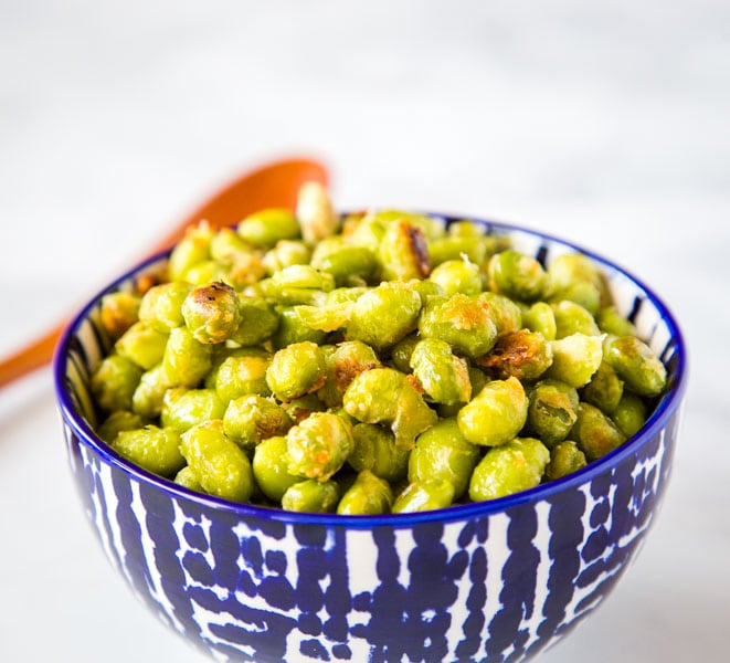 A bowl of food edamame