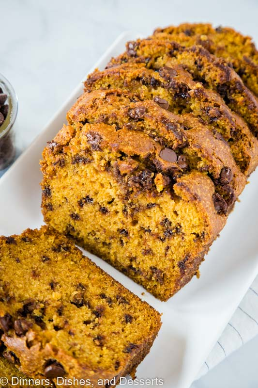 Moist and tender chocolate chip pumpkin bread - use mini chocolate chips, so you get a little chocolate in every bite