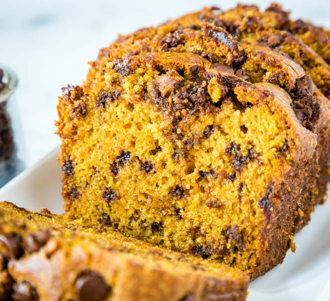 A close up of a piece of pumpkin bread on a plate