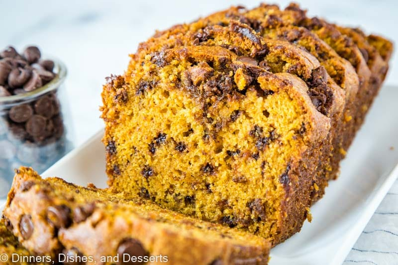 Easy pumpkin bread loaded with chocolate chips