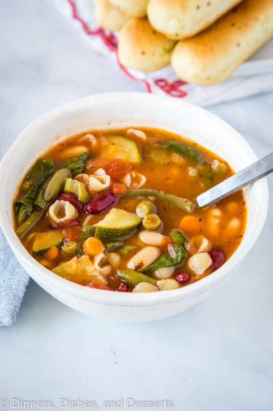 Vegan Minestrone Soup full of veggies and shell pasta